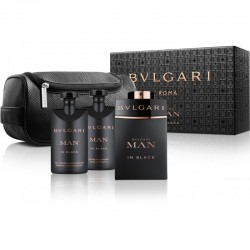 SET Bvlgari MAN IN BLACK EDP 100ml+AFTER SHAVE BALM 75ml+SHAMPOO AND SHOWER GEL 75ml+POUCH